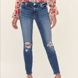 Paige Mid Rise Verdugo Distressed Skinny Ankle 27